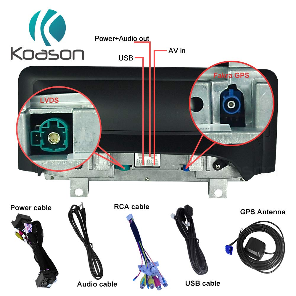 Koason 10.25 Black Screen Monitor 4+32G Android9.0 Auto Stereo Video Media Player GPS Navigation for BMW 1//2 Series F20 F21 F23 2012-2016 NBT