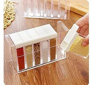 primerry kitchen utensils Transparent plastic condiment box 6pcs/pack (white)