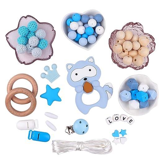 Silikonperlen Schnullerkette Selber Machen Baby Spielzeug Zahnen Silikon Perlen Beißring Diy Silikon-Perlen-Kit DIY-Dummy-Cli