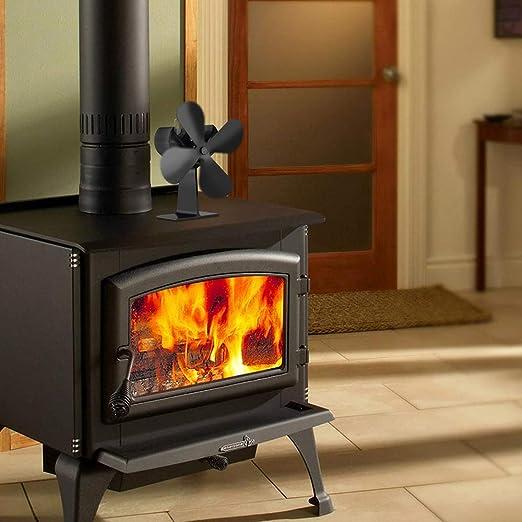 Ventilador de chimenea accionado por calor con 4 cuchillas para pellets /madera/quemador de leña/chimeneas/estufas silencioso y ecológico distribución de ...
