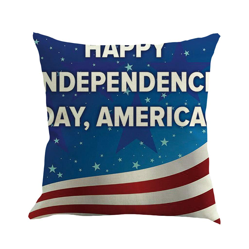 Weiliru Throw Pillowcase Cushion Cover for Lumbar, Independence Day Linen Pillowcase Sofa Pad Set Home Decoration