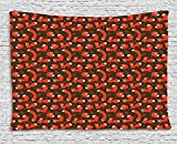 Fox Tapestry, Paw Print Patterned Background with Childrens Cartoon Style Cunning Forest Animals, Wall Hanging for Bedroom Living Room Dorm, 80 W X 60 L Inches, Red Brown Black