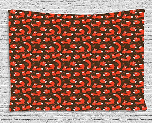 Fox Tapestry, Paw Print Patterned Background with Childrens Cartoon Style Cunning Forest Animals, Wall Hanging for Bedroom Living Room Dorm, 80 W X 60 L Inches, Red Brown Black by asddcdfdd