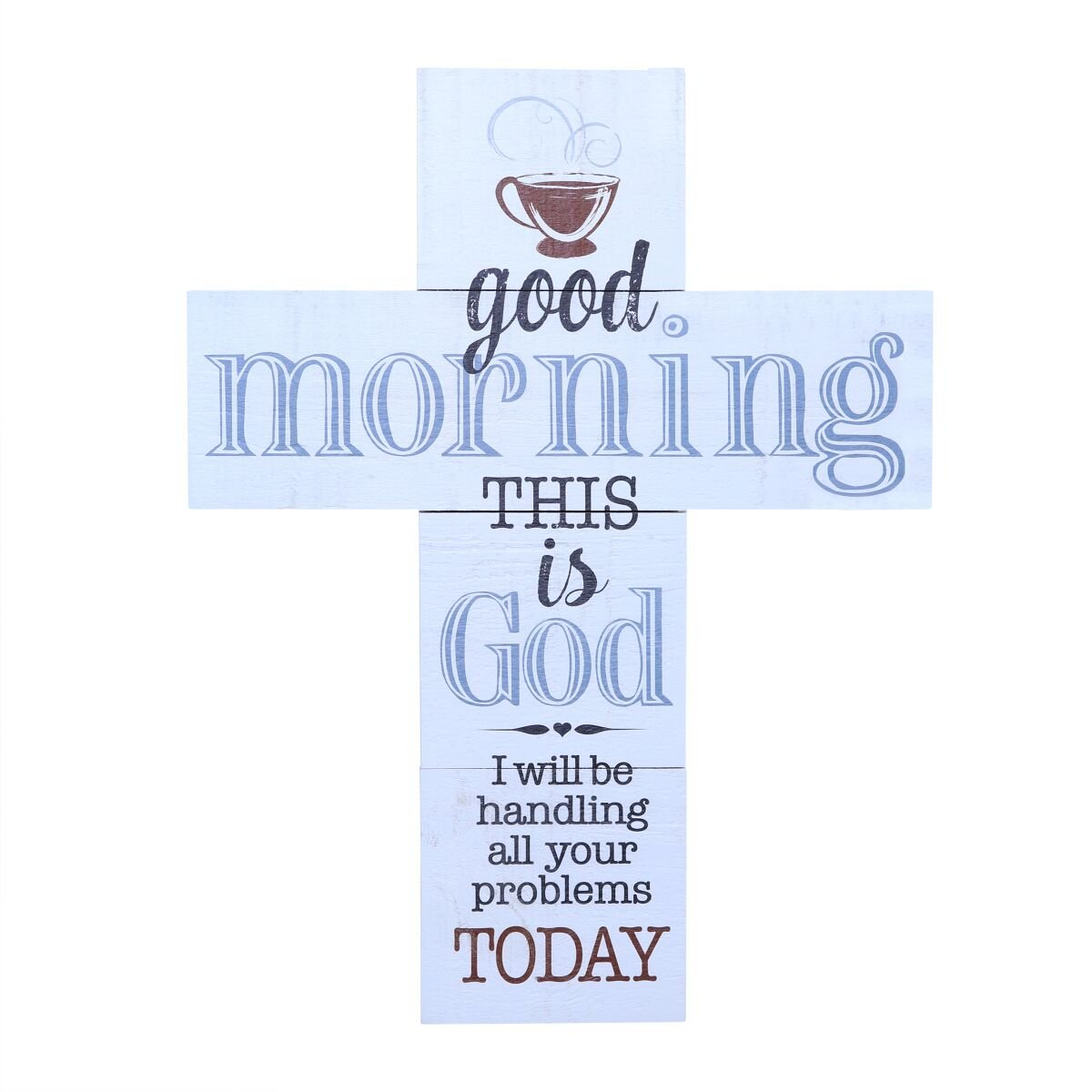 Wall Cross wall decor Good Morning This is God large cross home decor decoration by LifeSong Milestones 14''x19''