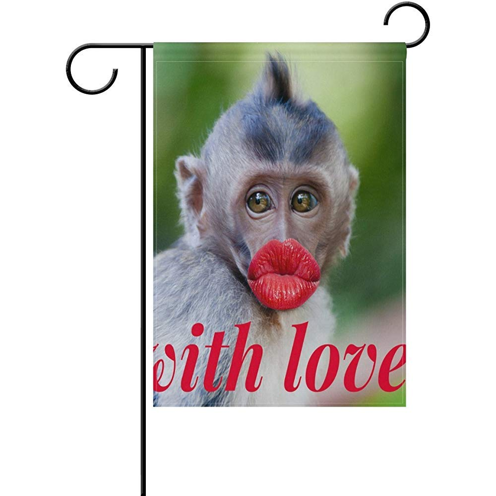 Amazon.com : Yunnstrou Funny Monkey with A Red Lips Double Sided Garden Flag Best for Party Yard and Home Outdoor Decor - 12x18 inches : Garden & Outdoor