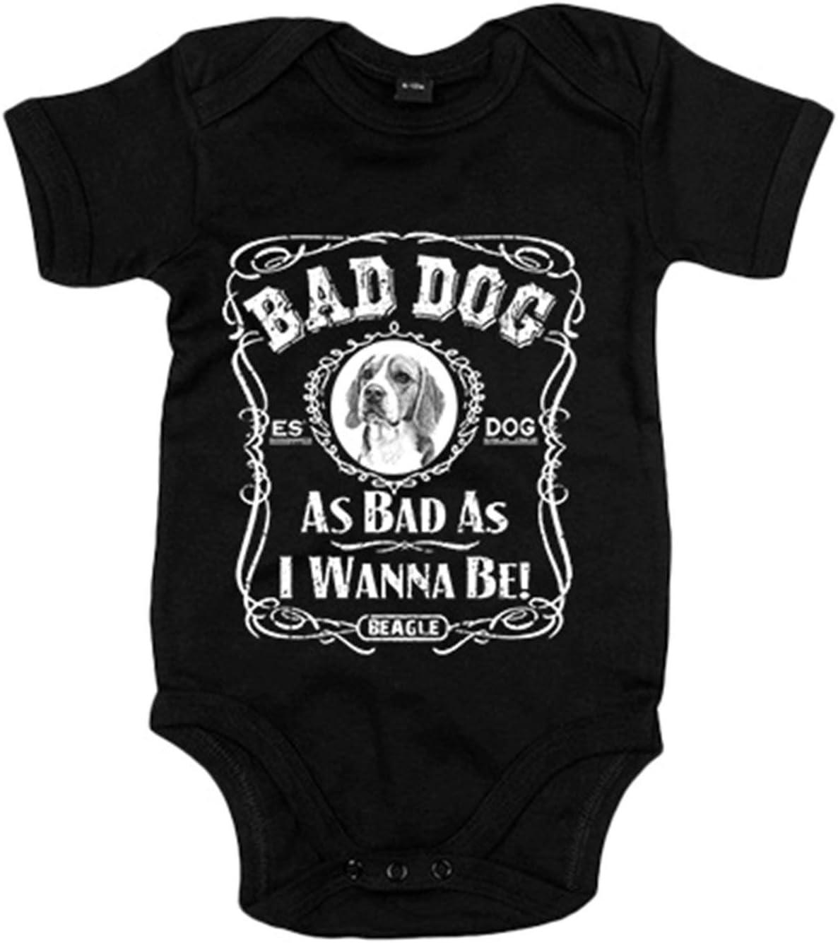 Body beb/é frase perro raza Beagle Bad dog as bad as I wanna be 6-12 meses Negro