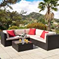 Homall 6 Pieces Outdoor Furniture Patio Sofa Sets Conversation Set All Weather PE Rattan Manual Wicker Beige Cushion