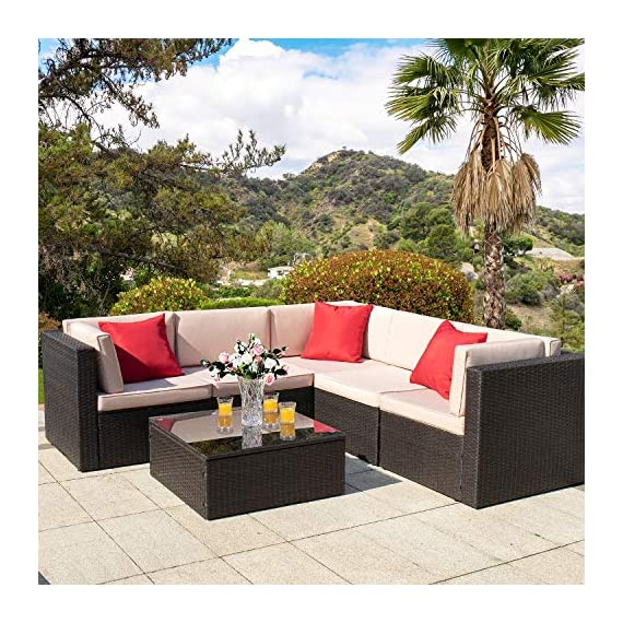 Homall 6 Pieces Patio Furniture Sets Outdoor Sectional Sofa All Weather PE Rattan Patio Conversation Set Manual Wicker Couch with Cushions and Glass Table (Beige) - Widely used: It can satisfy 4-5 people to eat and talk comfortably without feeling crowded. Suitable for your courtyard, patio, backyard and poolside, and it will make your space more modern and elegant. Free combination: In order to give you and your family more comfortable experience and more choices, we designed this Homall set. It can be rearranged in a variety of ways to fit your decorations or space. Easy to clean: Cushions are equipped with zippers for easy disassembly and are washable. The easily removable tempered glass on the table is very convenient to clean after use, meanwhile is very firm. - patio-furniture, patio, conversation-sets - 6183b0HkK7L. SS570  -