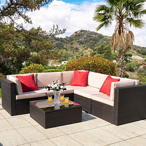 Homall 6 Pieces Outdoor Furniture Patio Sectional Sofa Sets All Weather PE Rattan Manual Wicker Conversation Set with Washable Cushions and Glass Table (Brown) (Outdoor Wicker Sets Furniture)