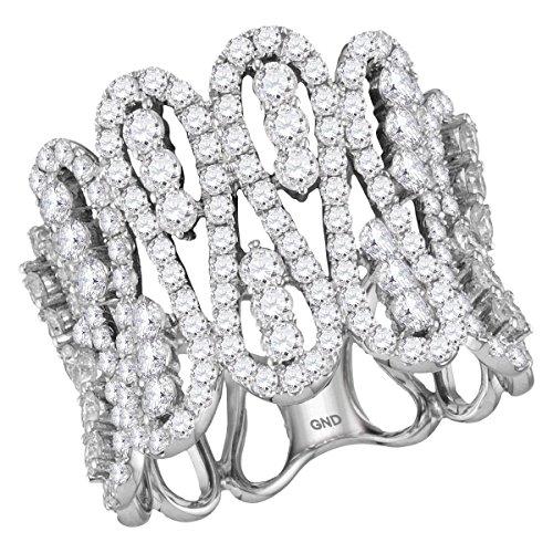 Womens 10K White Gold Real Diamond Designer Fashion Cocktail Ring 2 1/2 CT (I1-I2 clarity; G-H color) (White Diamond Ring Gold Designer)