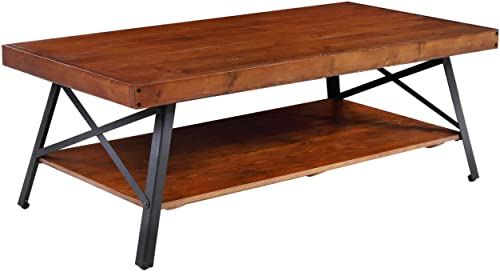 Phoenix Home Emerald Home Chandler Rustic Industrial Solid Wood and Steel Open Shelf Coffee Table