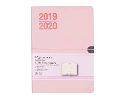 Color Ryman Marble Soft Cover Diary Week to View A5 2019-2020 Marble Pink