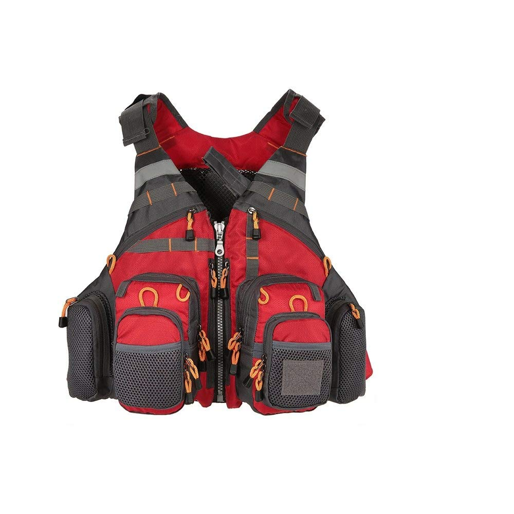 Redwith foam MYSportsworld Fly Fishing Vest,Fishing Safety Life Jacket Breathable Polyester Mesh Design Fishing Vest for Swimming Sailing Boating Kayak Floating(Foam Without Foam Optional)