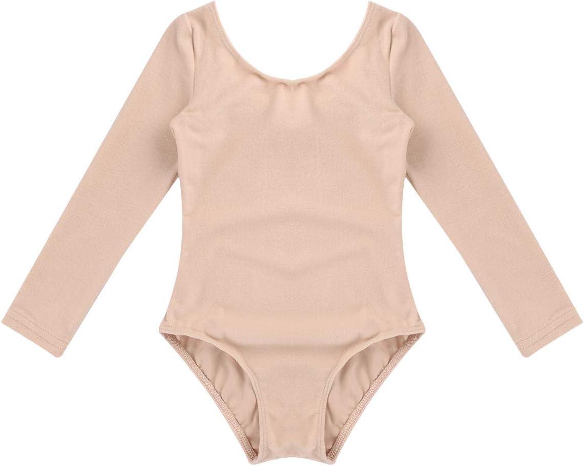 iEFiEL Kids Girls Classic Cotton Long Sleeves Leotard Gymnastics Ballet Dance Costume Bodysuit Jumpsuit Dancewear