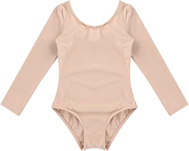 Enfants Filles Gymnastique Dance Justaucorps Top Enfants Manches Longues Col Rond Body