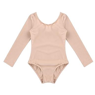 YiZYiF Enfant Fille Justaucorps de Danse Classique Body de Ballet  Gymnastique Collant Bodysuit à Manche Longue ca98584fdc6