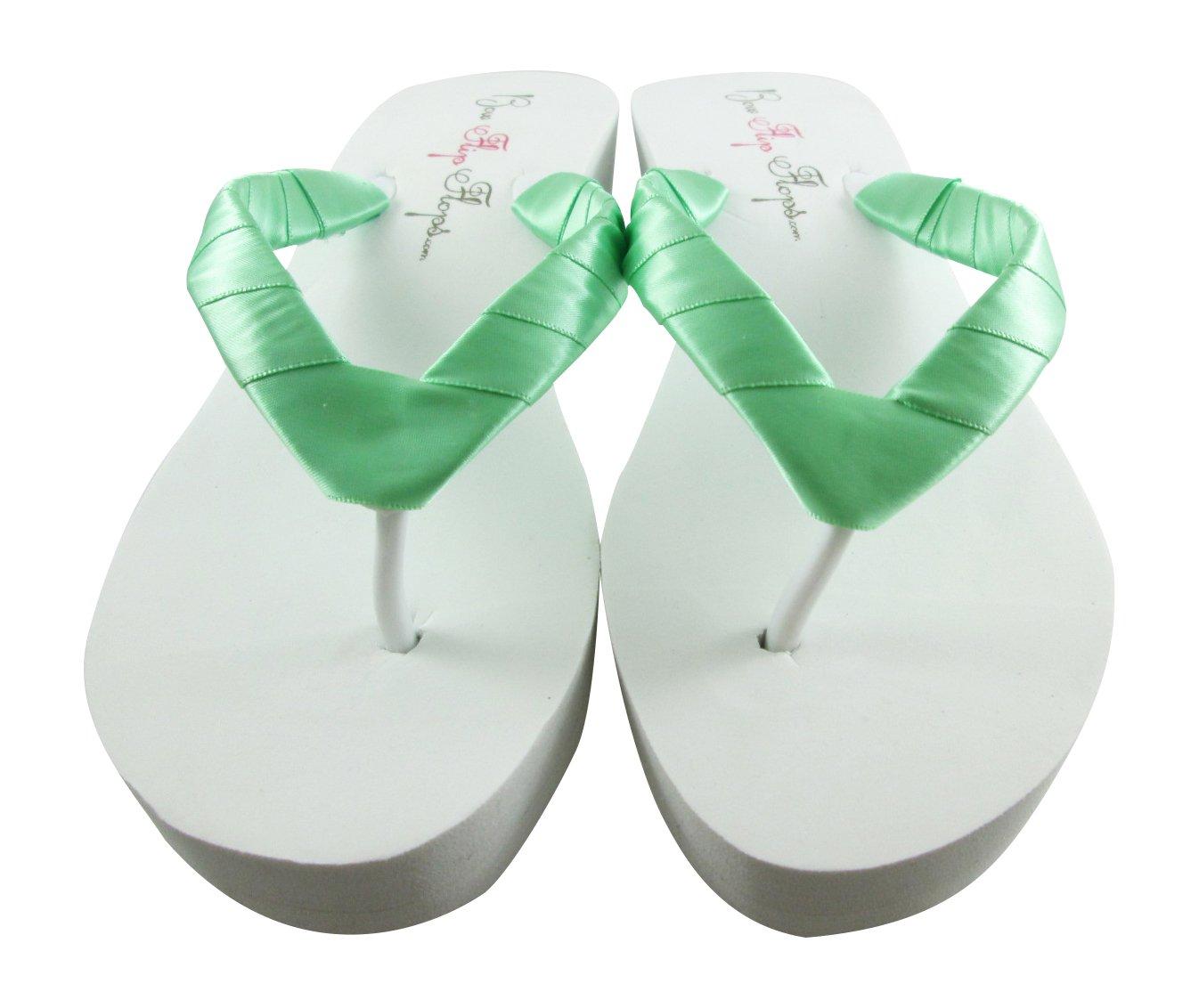 701ec99fa94727 Amazon.com  Mint Green or your wedding color - Bridal Wedding Shoes -  Bridesmaid Flip Flops  Handmade