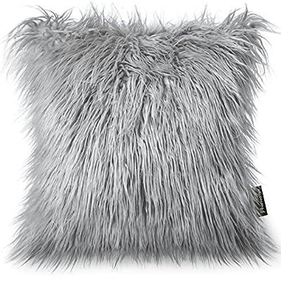 Phantoscope Decorative New Luxury Series Merino Style Fur Throw Pillow Case Cushion Cover