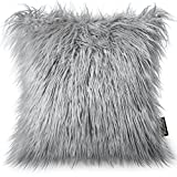 #6: Phantoscope Decorative New Luxury Series Merino Style Grey Fur Throw Pillow Case Cushion Cover 18