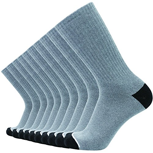 (Men's 10Pack Grey Cotton Full-Cushion Outdoor Crew Sport Socks for Running and Training By SoxDaddy (US 10-13, Grey))