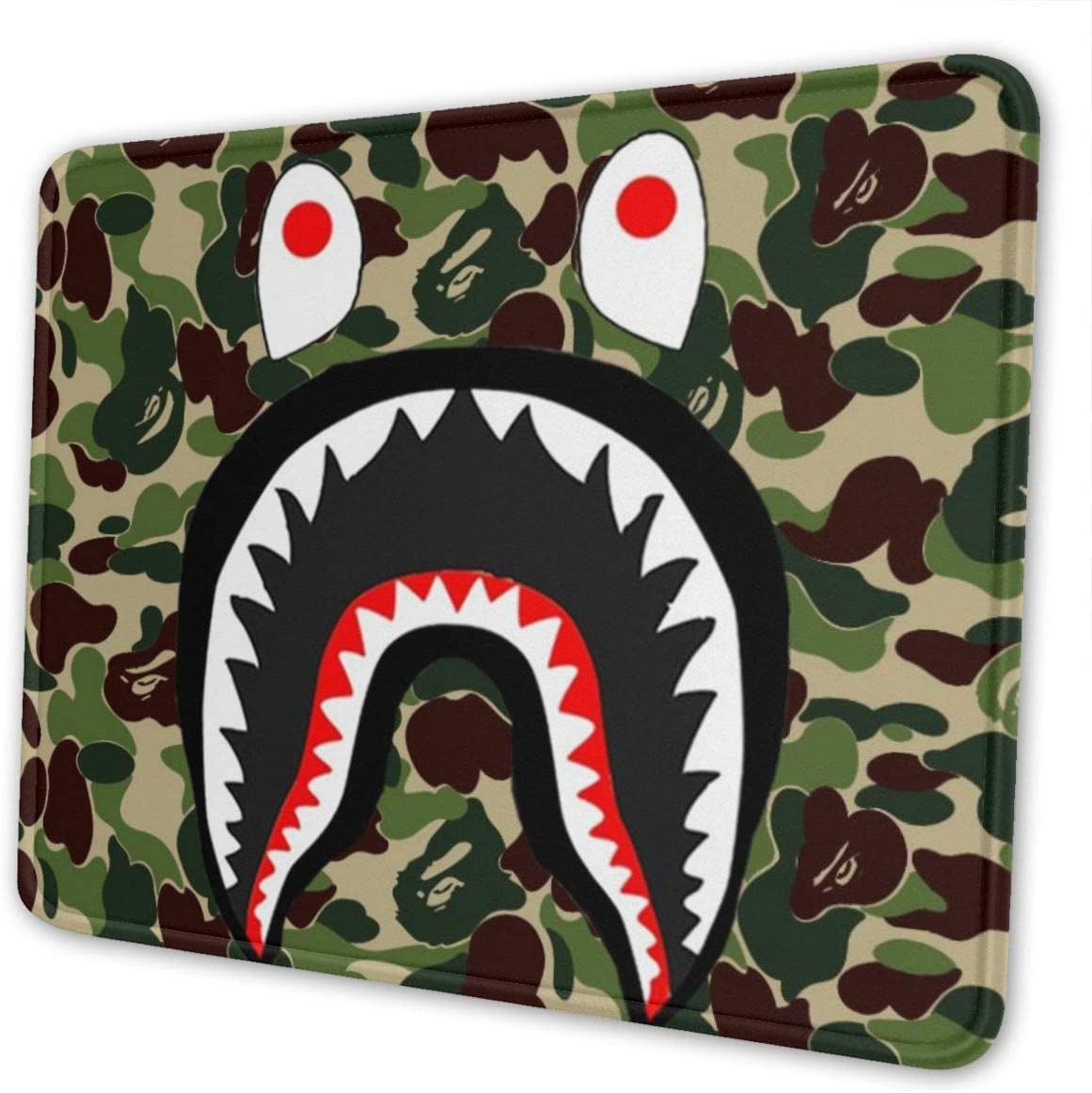Fashion Army Green Shark Mouse Pad, Camo Design Customized Mousepad with Stitched Edge Non-Slip Rubber Large Gaming Mouse Pad for Laptop, Computer & Office, 11.8 X 9.8 X 0.12 Inch