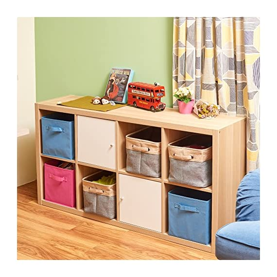 EZOWare Set of 3 Large Canvas Fabric Tweed Storage Organizer Cube Set W/Handles for Nursery Kids Toddlers Home and… - [ MODERN DESIGN ] EZOWare Storage Bins are a perfect way to accessorize, organize, and store items at home, office, dorm, loft or other dwellings. We offer best organization and storage solutions that complement lifestyles [ DURABLE MATERIAL ] Constructed of durable, decorative and attractive jute, cotton & PVE lining with linen interior lining. Metal eyelets and sturdy heavy duty handle make it easy to carry or pull off and out of shelves [ ORGANIZATIONAL SOLUTION ] Fashionable Storage Container: Designed to match interior decor and style in any room in the home or office. Enjoy the Brown and grey neutral color scheme for a rustic accent - living-room-decor, living-room, baskets-storage - 6183cK%2BwXAL. SS570  -
