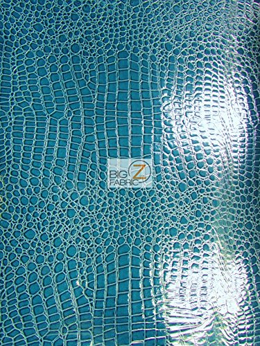 Big Z Fabric Vinyl Faux Fake Leather Pleather Embossed Shiny Alligator Fabric by The Yard DIY Upholstery Accessories (Turquoise) Closeout!