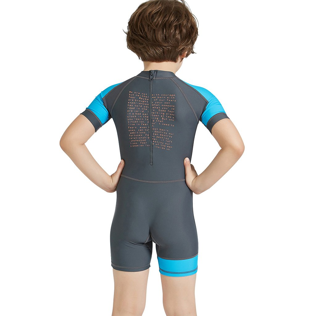 72e02bccf0 Gogokids Boys Girls One Piece Swimsuit - Kids Short Sleeves Swimwear UPF 50+  UV Sun larger image