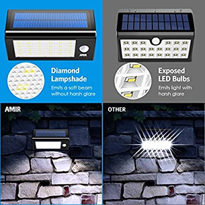 AMIR Solar Lights Outdoor, 16 LED Motion Sensor Wall Light, Waterproof Landscape Lighting, Wireless Solar Security Light, Auto On/Off, for Step, Tree, Patio, Yard, Garden,