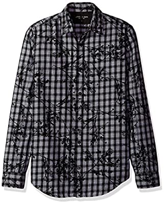 Calvin Klein Jeans Men's Long Sleeve Floral Printed Plaid Button Down Shirt