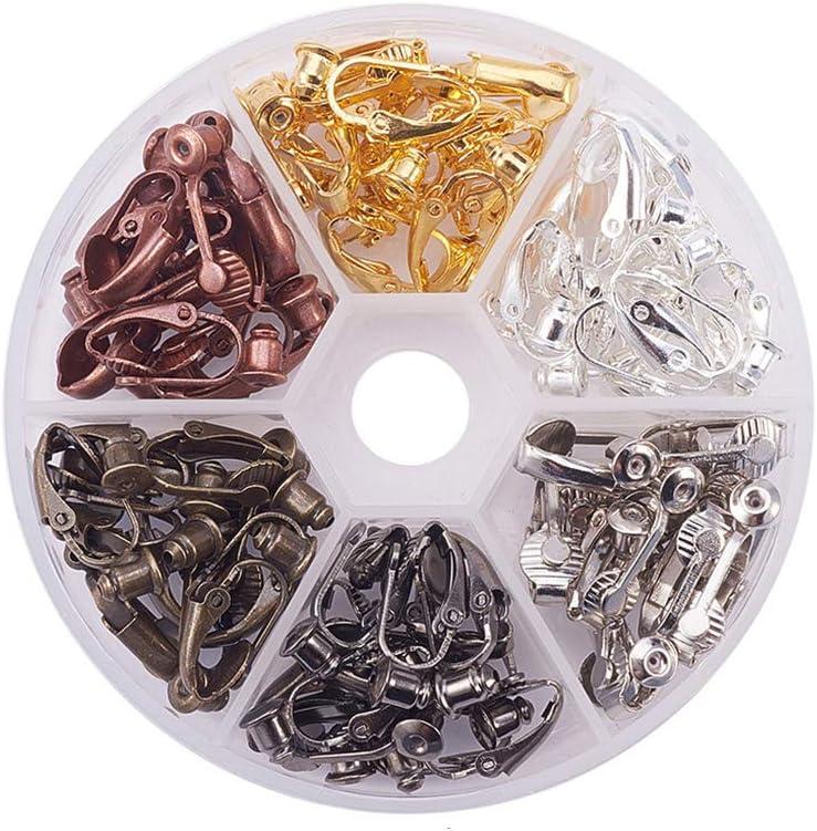 bo/îte 6 pi/èces Couleurs Boucle doreille en Laiton Non perforantes Accessoires Boucles doreilles Pince doreille Converter Trouver Fittings Palette probeninmappx 36