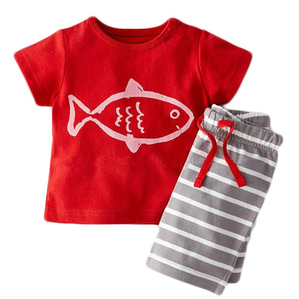 Baby Boys' Short Sleeve Sailor T-Shirt Stripe Shorts Set