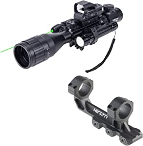 HIRAM 4-16x50 AO Rifle Scope Combo with Green Laser, Reflex Sight, and 5 Brightness Modes Flashlight & 1.18