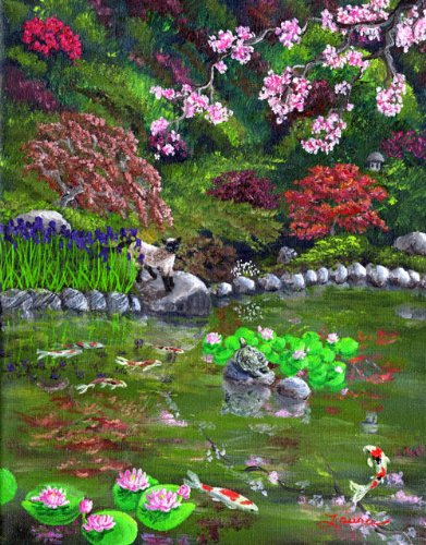 Siamese Cat and Turtle in a Japanese Garden Koi Pond Iverson Original Painting on Canvas