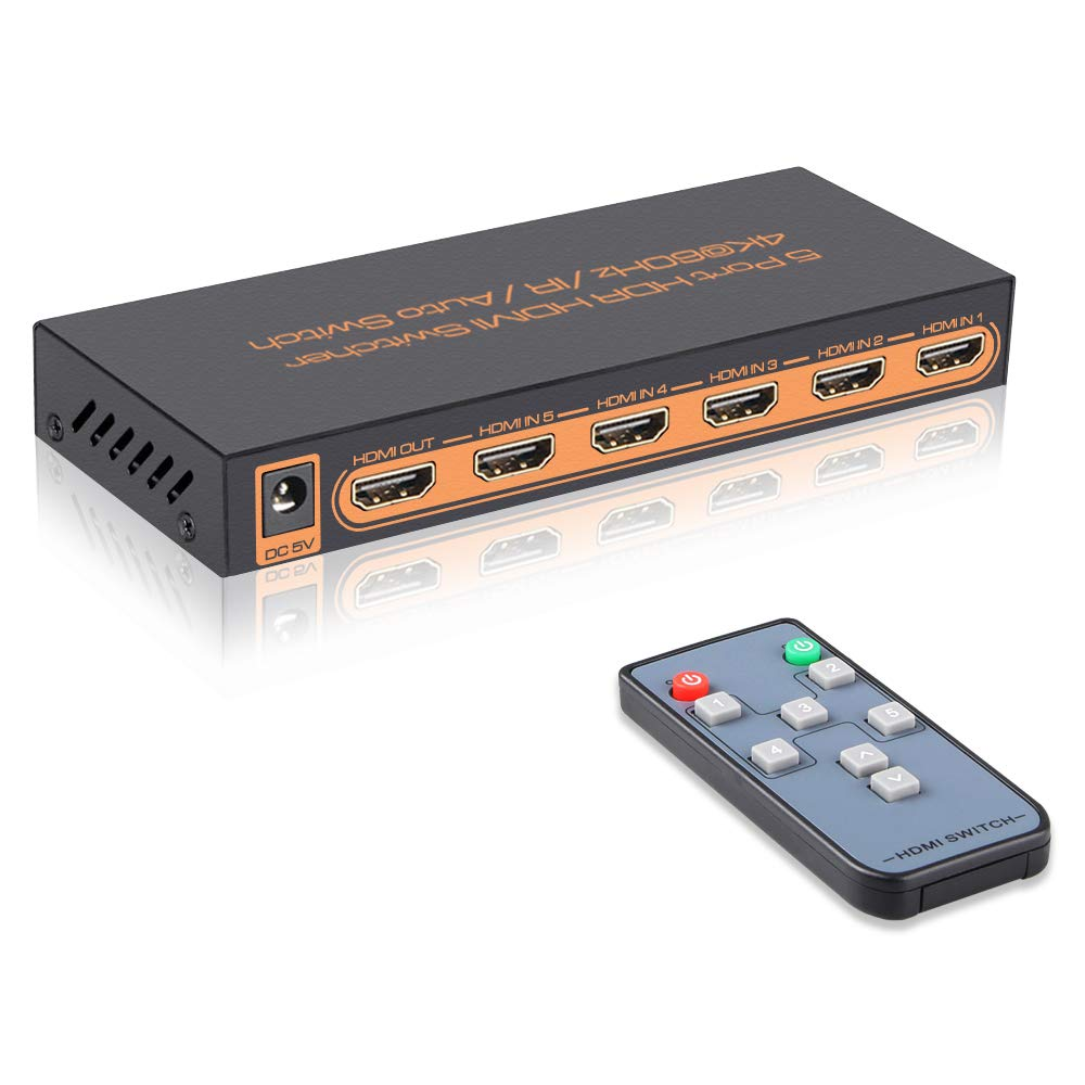4K@60Hz 5 Port HDMI Switch with Remote,5 in 1 Out 4Kx2K HDMI Auto Switcher, Support UHD, HDR10, Dolby Vision, Atmos, YCbCr 4:4:4, HDCP2.2 and CEC by SkycropHD