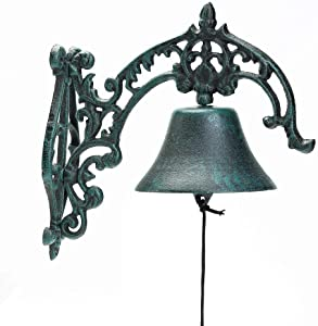Sungmor Heavy Duty Cast Iron Wall Bell - Rustic Style Aristocratic Logo Manually Shaking Wall Hanging Doorbell - Indoor Outdoor Wall Mounted Dinner Bell - Classic Sculpture for Garden Patio Villa Cafe
