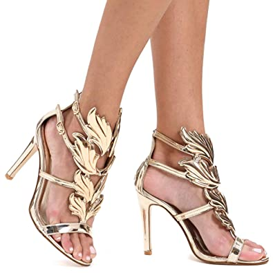 64f289e506d Shoe N Tale Women s High Heel Gladiator Sandals Gold Flame Party Dress  Stiletto Shoes (