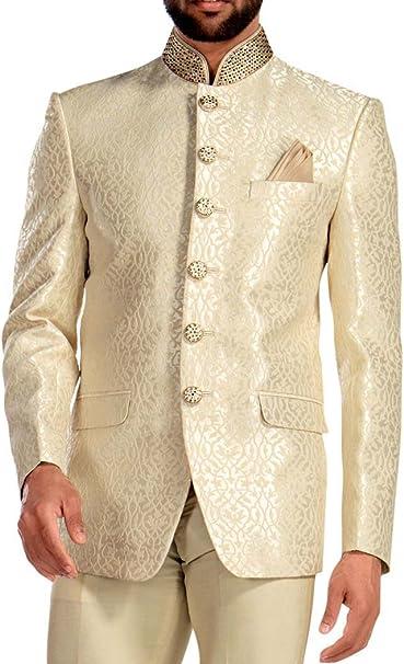 Amazon.com: INMONARCH traje de hombre crema Jodhpuri 3 pc ...