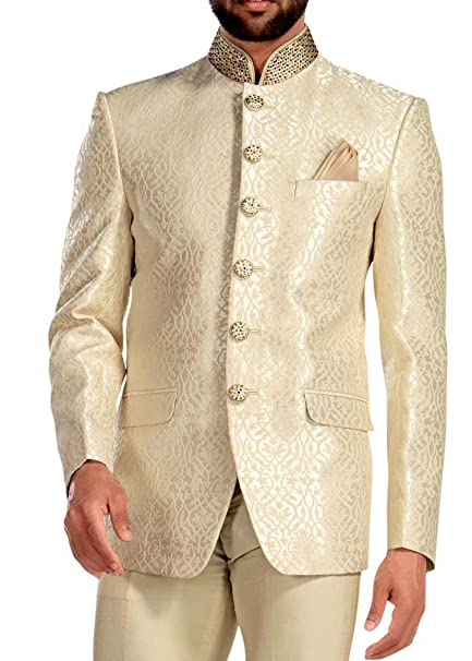 Amazon.com: INMONARCH traje de hombre crema Jodhpuri 3 pc ...