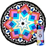 Mimosa Inc Round Beach Towel Mallorca 5ft Pool Towel Ultra Plush 100% Cotton Terry Velour Throw Mat With Thick Artisan Tassels Bright Colors Machine Washable Designed In California (11 Options)