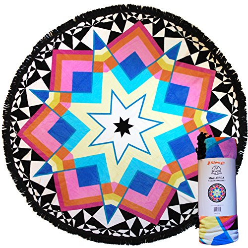 Mimosa Inc Round Beach Towel Mallorca 5ft Pool Towel Ultra Plush 100% Cotton Terry Velour Throw Mat With Thick Artisan Tassels Bright Colors Machine Washable Designed In California (11 Options) by Mimosa
