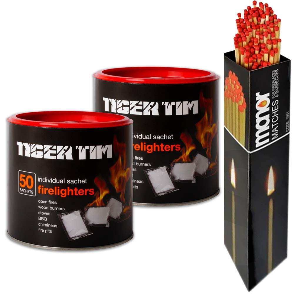 Tiger Tim Firelighters X2 tubs with Box of Manor Long Matches 100 Sachets in Total Great for Stoves and BBQs