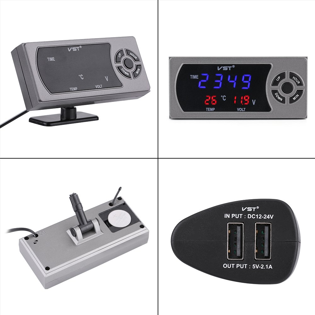 3-in-1 12-24 V LED Auto Uhr Digital Thermometer Voltmeter enth/ält 1 x Digitales Thermometer Voltmeter Monitor Uhr 1 x KFZ-Steckdose 1 x Halterung
