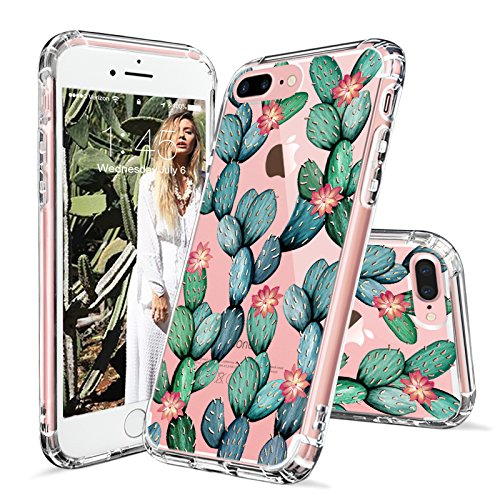 iPhone 7 Plus Case, iPhone 8 Plus Cover, MOSNOVO Tropical Cactus Clear Design Printed Transparent Plastic Case with TPU Bumper Protective Case Cover for iPhone 7 Plus (2016) / iPhone 8 Plus (2017)