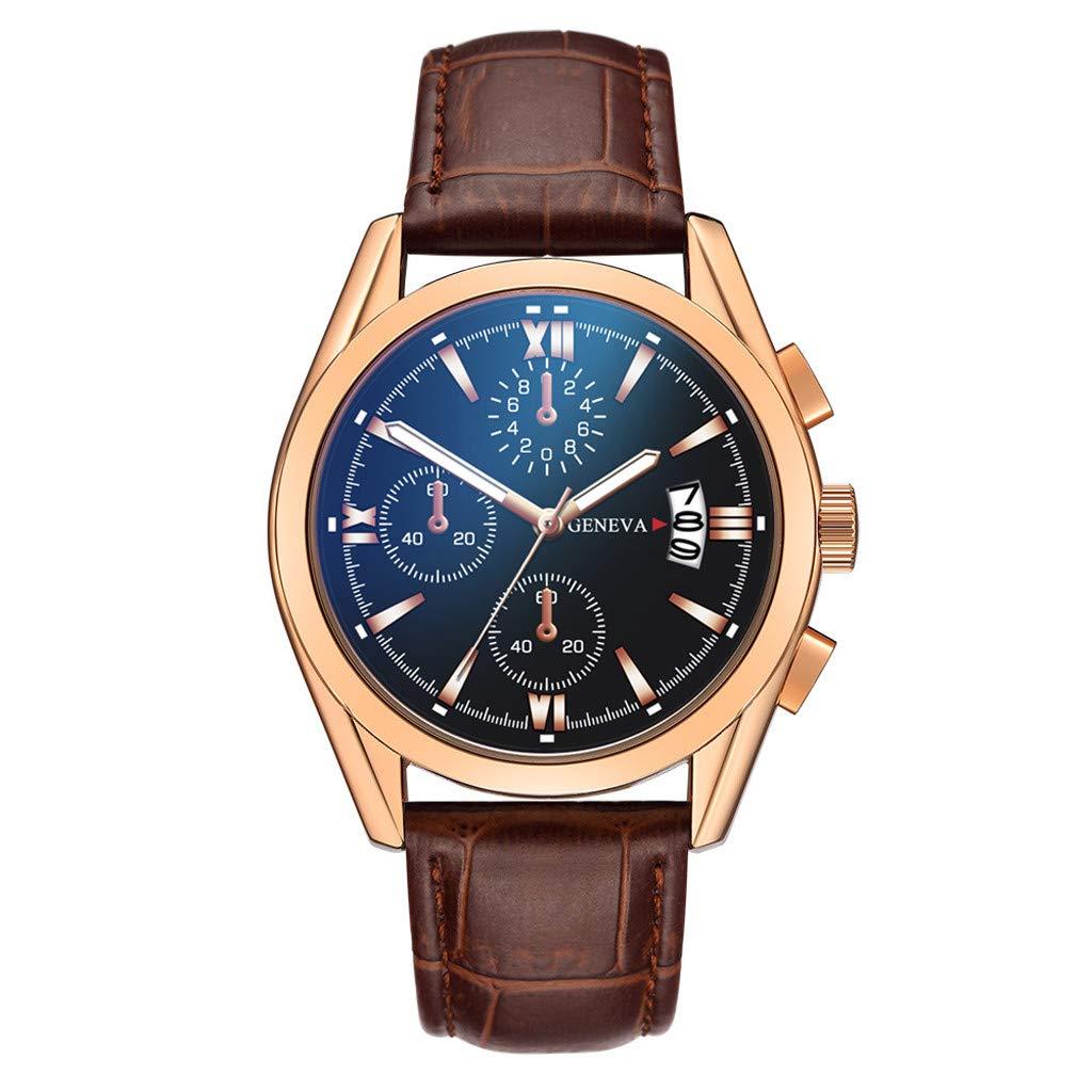 Herren Quarz Uhr mit Leder Armband Lederuhren Luxusuhren Quarzuhr Edelstahl Zifferblatt Casual Armband Uhr Multi Zifferblatt Quarz Uhr MiMiey (H)