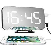 Charminer LED Espejo Reloj Despertador Digital, Alarma Reloj