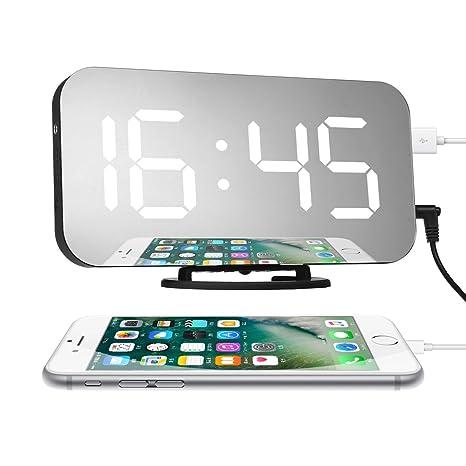 Charminer LED Espejo Reloj Despertador Digital, Alarma Reloj de Cabecera con Función Snooze Pantalla LED Portátil HD de Espejo Ajuste de Brillo ...