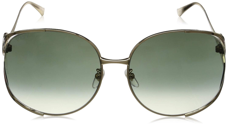9d19f8150a2 Amazon.com  Gucci sunglasses (GG-0225-S 002) Gold - Blue - Brown grey black  Gradient lenses  Clothing