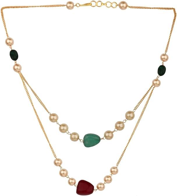 Efulgenz Collar de Perlas de Capas Chapado en Oro Indio de 14 ...