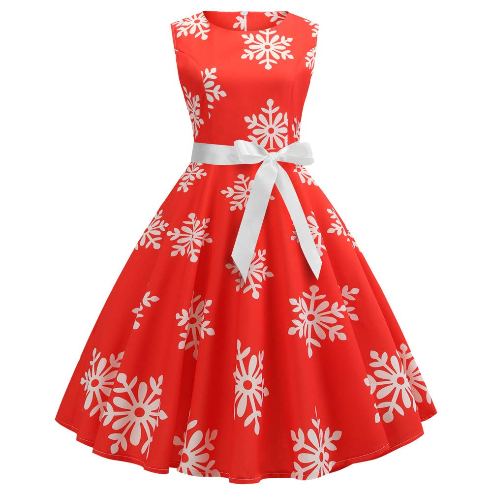 Retro Pgojuni Fahion Womens Ladies Christmas Sleeveless Snow Printing Bandage Vintage Gown Party Dress (Red, S)